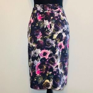 Milly purple and pink watercolor floral skirt - 8